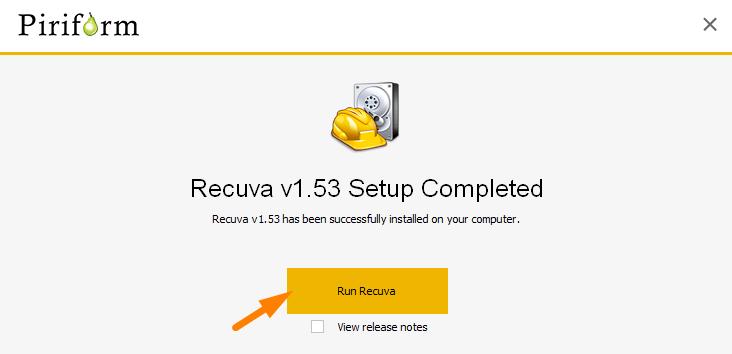 Recuva Install end